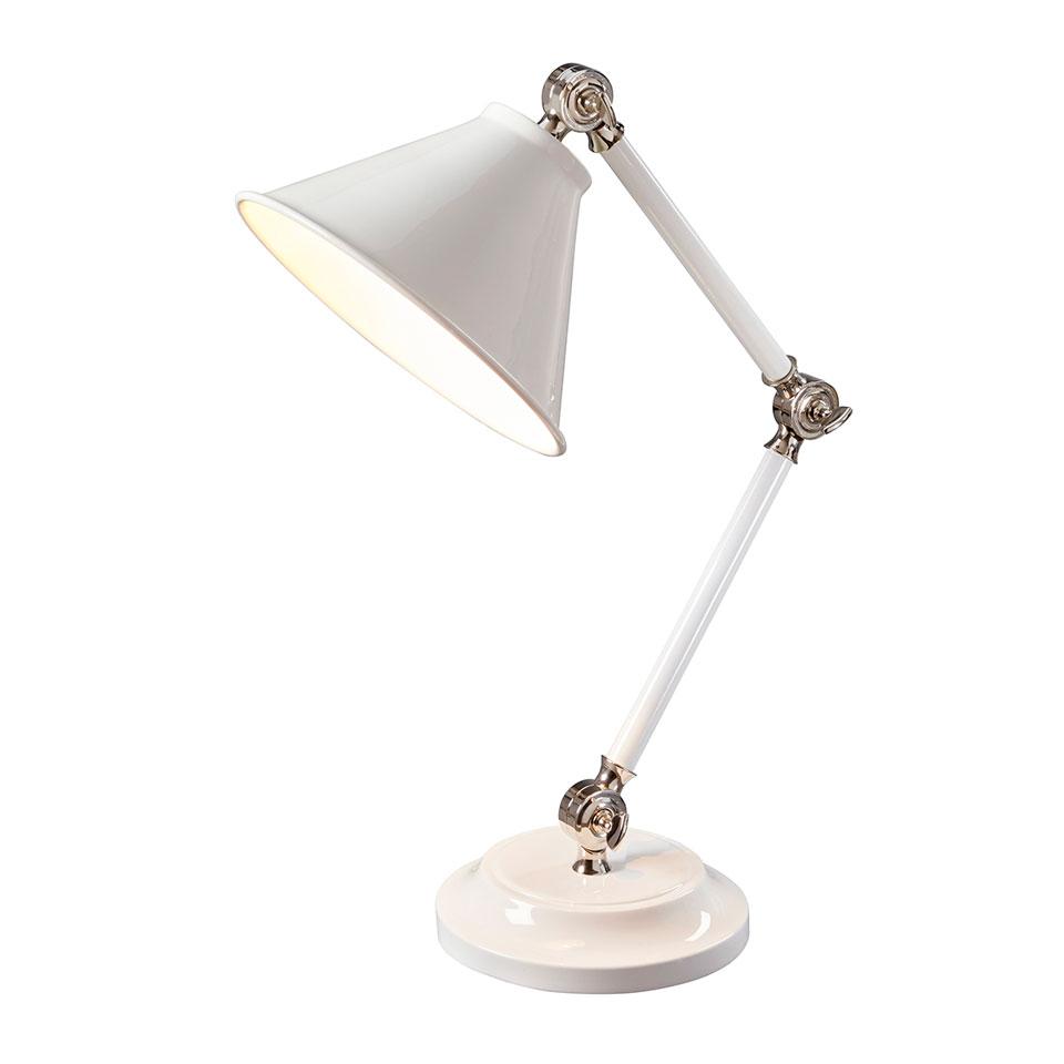 Petite lampe de bureau ou chevet rétro en métal laqué blanc. Elstead Lighting.
