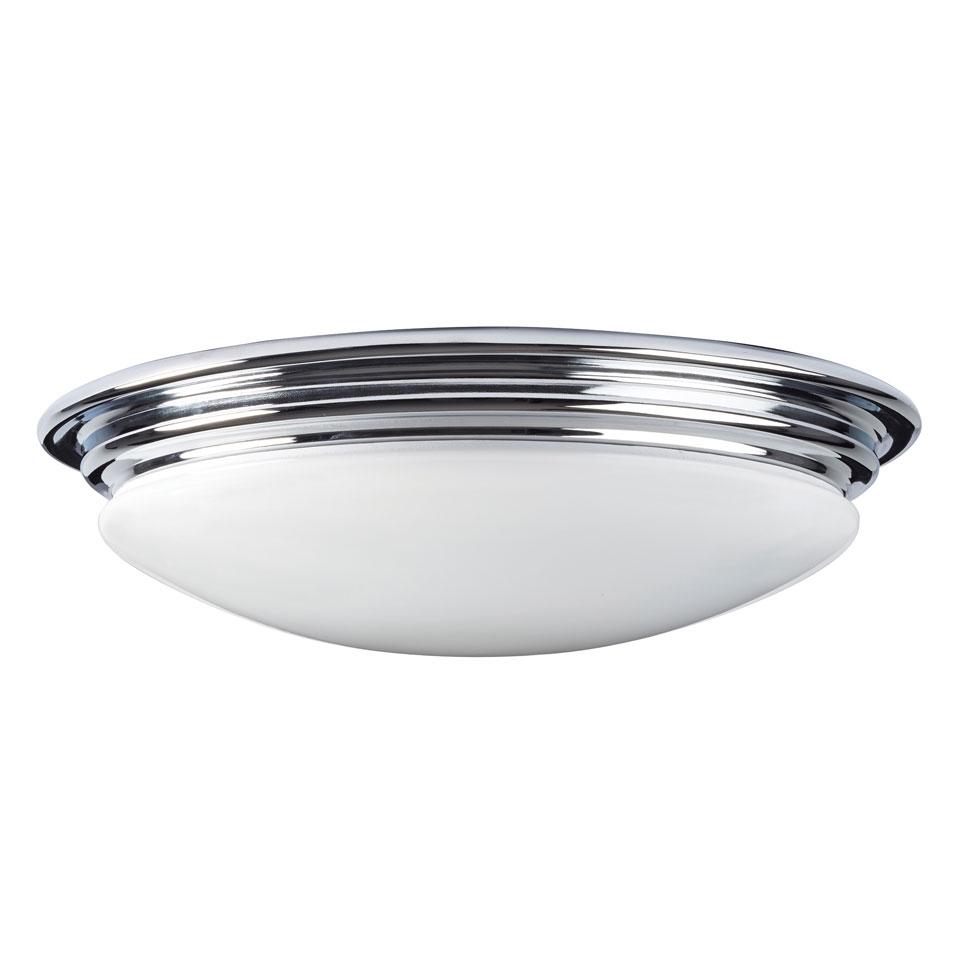 Plafonnier rond en forme de dôme, verre blanc cerclé de métal finition  chrome poli