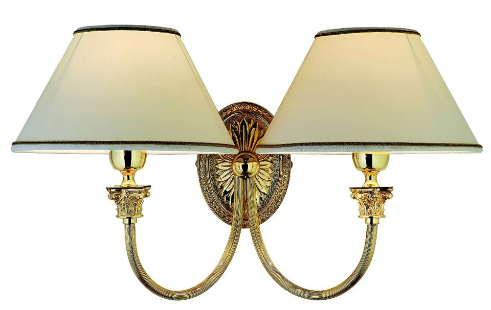 Applique double socle ovale en bronze poli principe réf