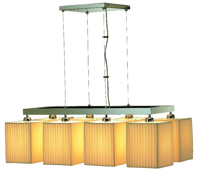 Shaula contemporary chandelier 8 lights in beige pleated fabric. Estro.