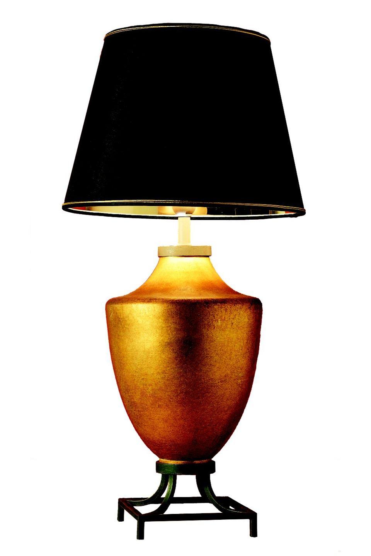 Lampe dorée céramique et support métal patiné Cocos . Estro.