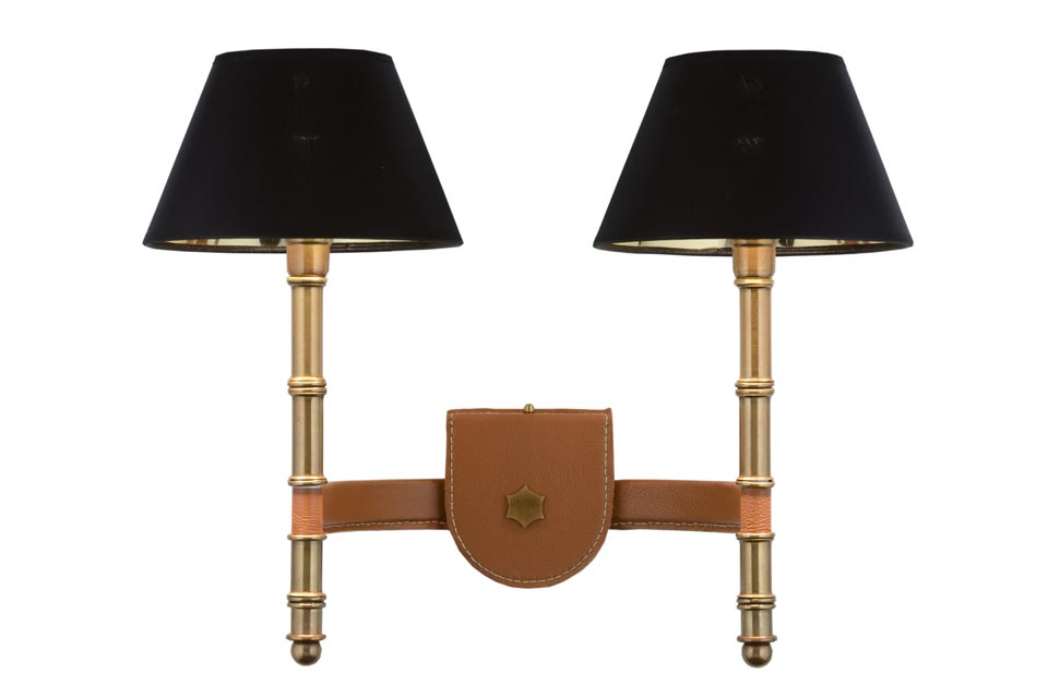 Custer double wall lamp in Camel leather. Estro.