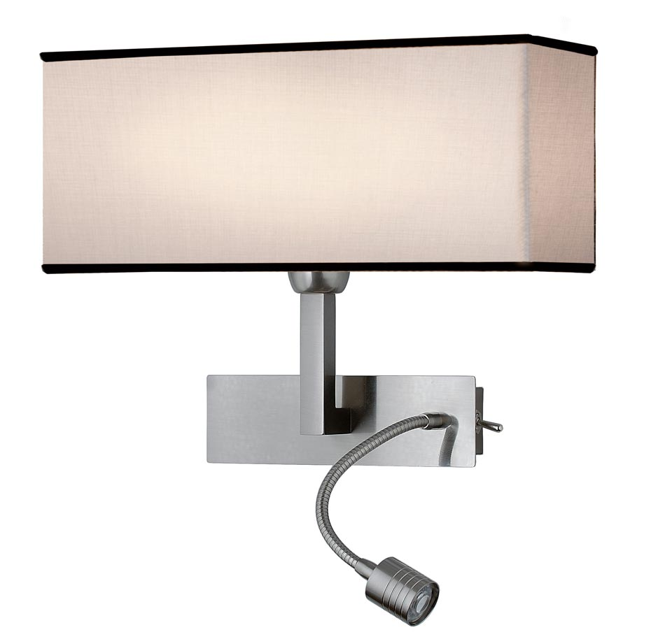 Noa wall lamp + white and black reading lamp, satin nickel metal. Estro.