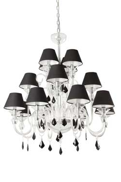 Murano 16 light chandelier with black shades and black crystal chandeliers whose color is black and metal and style is baroque by faro reference 11090213 mozeypictures