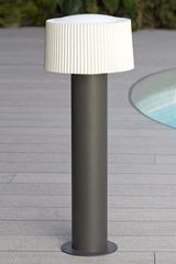 Gray aluminum garden lamp post and pleated white glass. Faro.