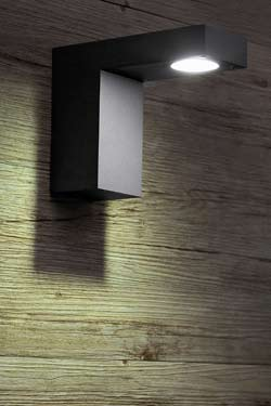 Gauss Dark Grey Aluminium Exterior LED Wall Light. Faro.