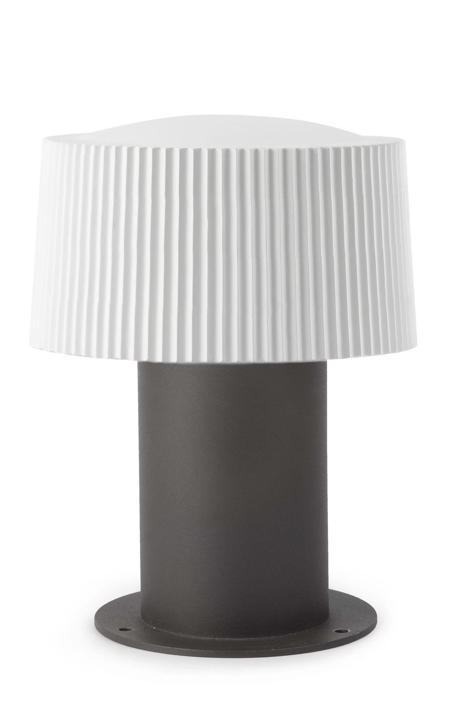 Lampe jardin aluminium gris et verre blanc plissé | Faro | Style ...