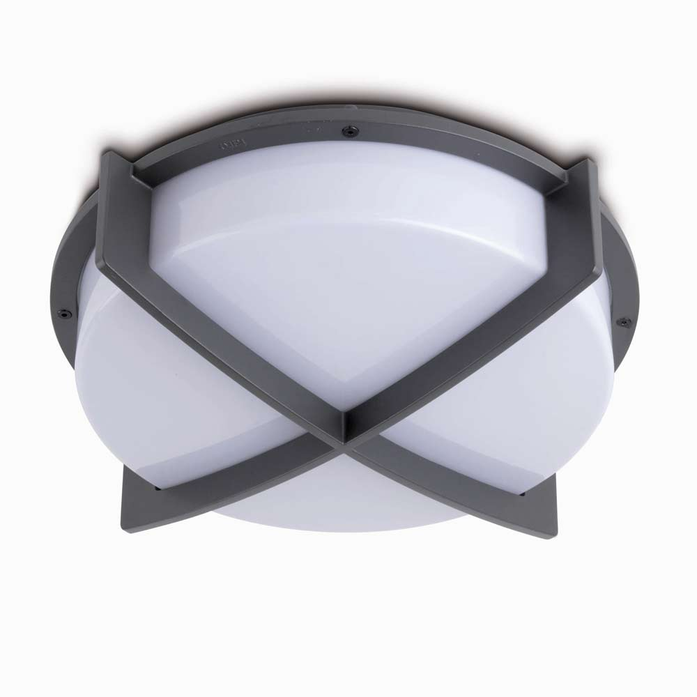 Ceiling Light Crossbar : Cross dark grey aluminium exterior ceiling light with