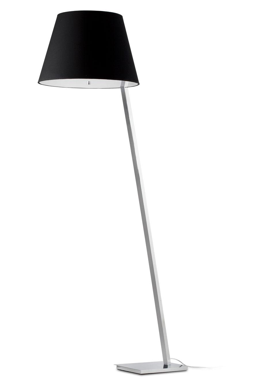 Moma lampadaire design chrome et tissu noir. Faro.