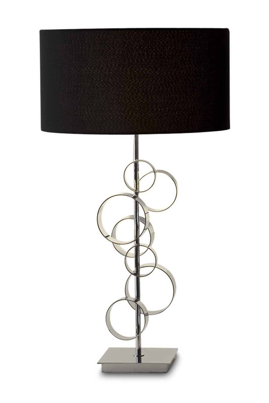 lyon  chrome and black designer table lamp with bubblelike  - lyon  chrome and black designer table lamp with bubblelike circles  faro