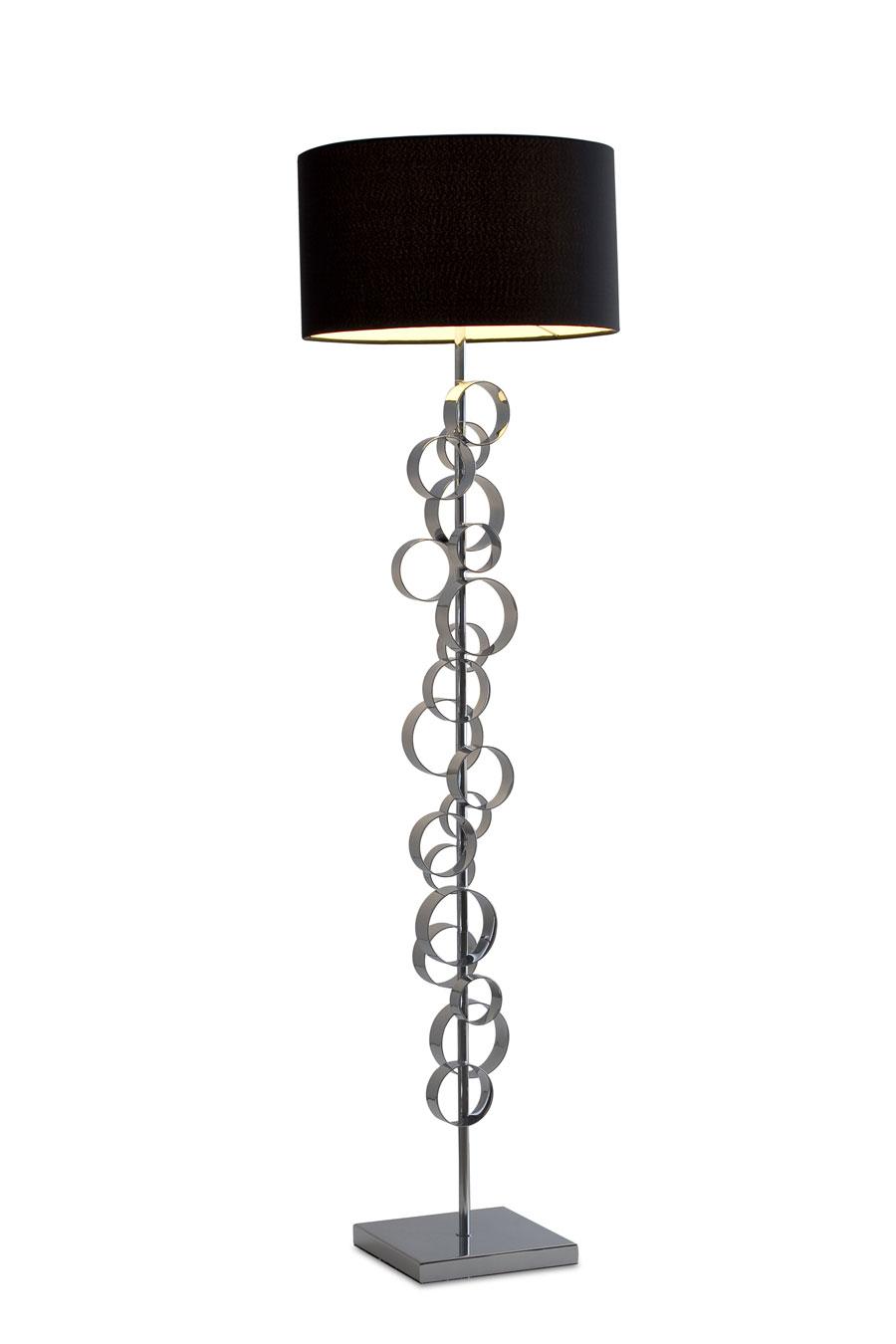 Lyon   Chrome And Black Designer Standard Lamp With Bubble Like Circles .  Faro.