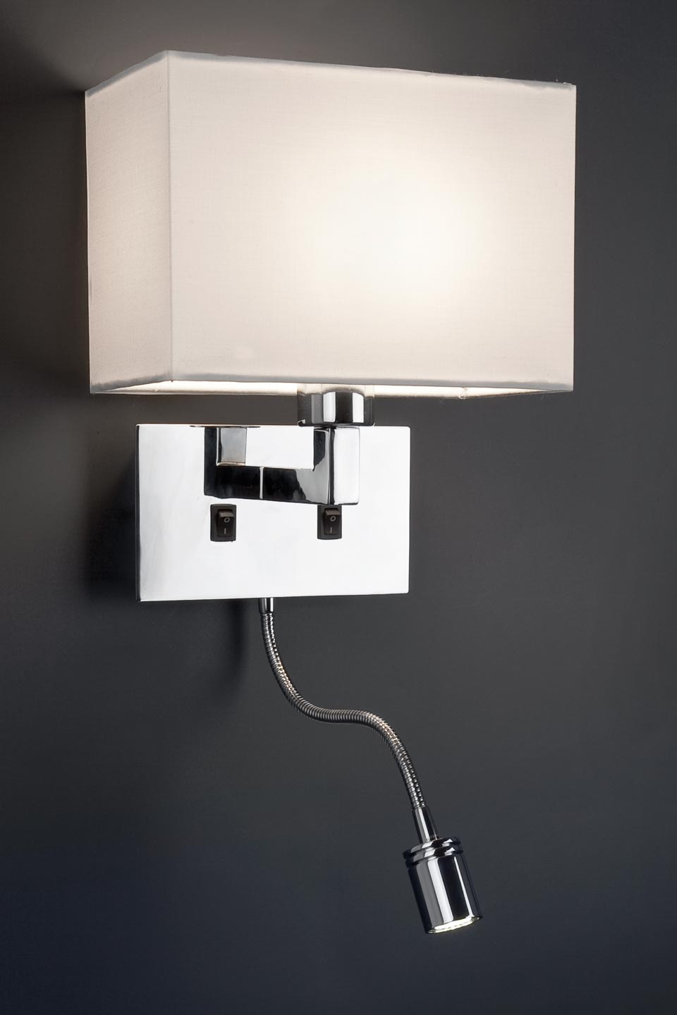 Sinki chrome and white fabric designer bedside wall light with LED reading light Faro - Ref ...