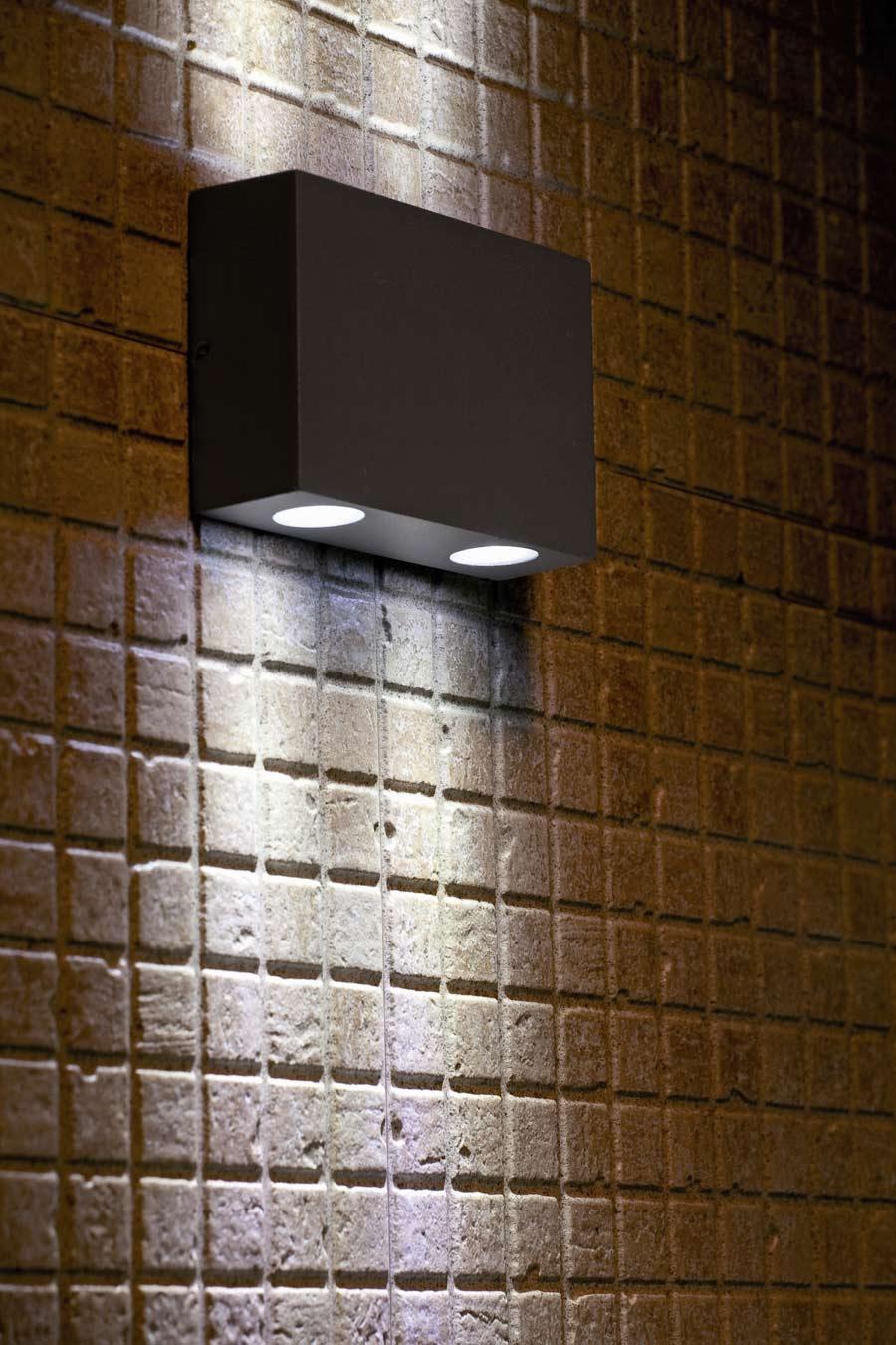Marat 2 applique extérieur LED miniature aluminium gris | Faro ...