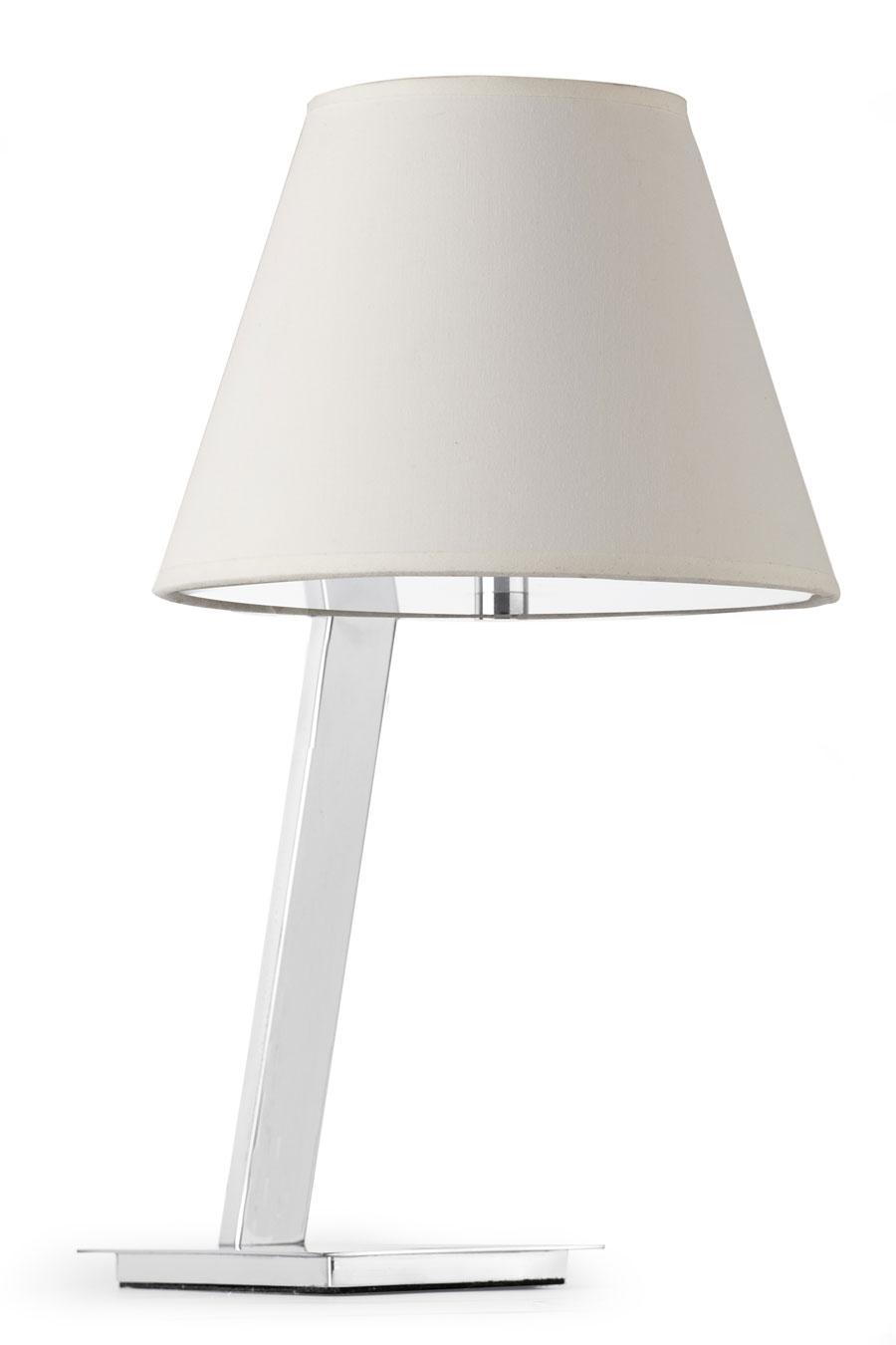 Moma lampe de table design chrome et tissu blanc. Faro.