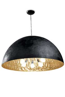 Magma G very large black pendant with gold-finish interior. Faro.