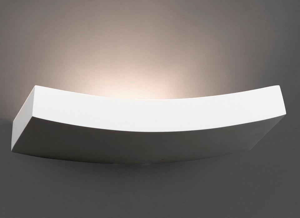 Eaco 3 long curved white plaster wall light faro réf. 11020235