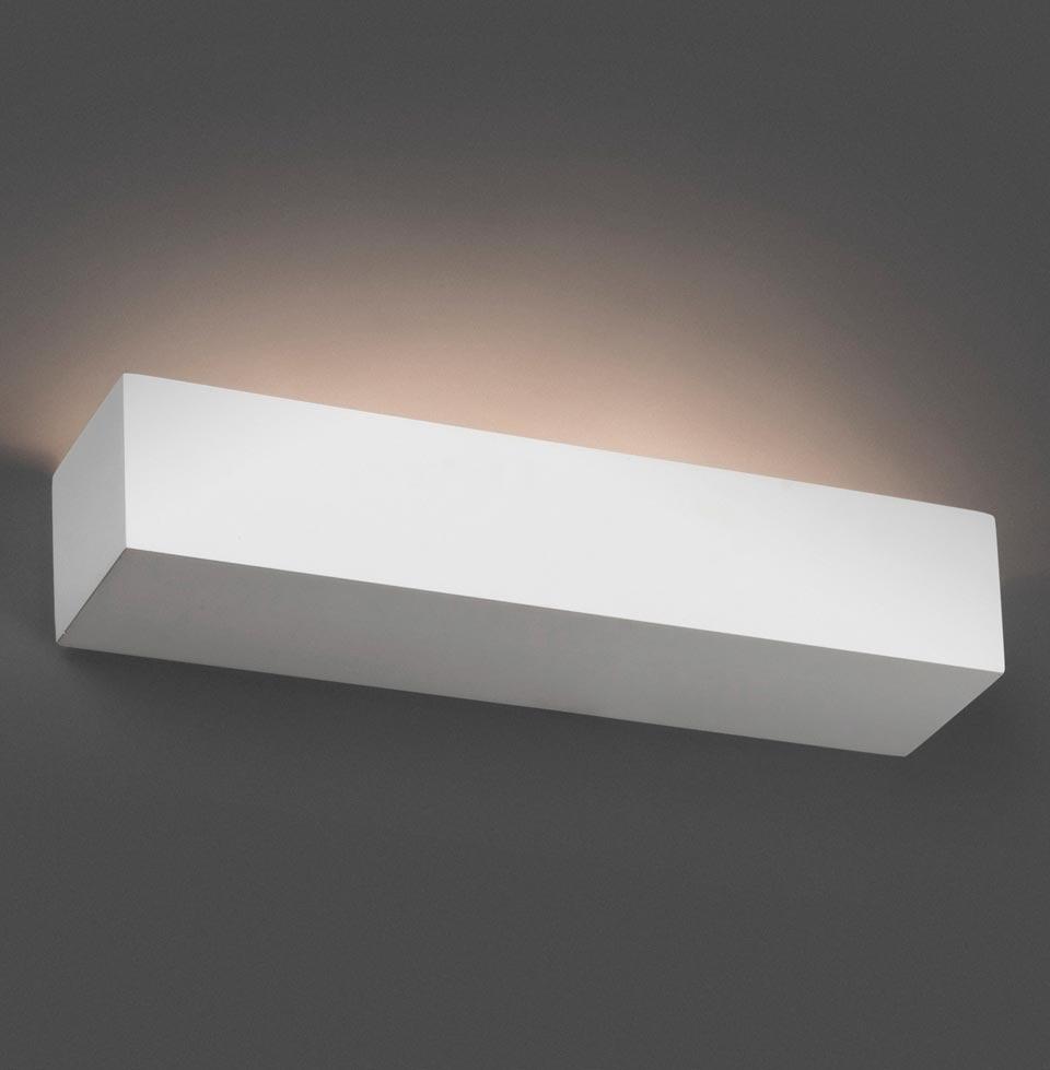 Eaco 2 Long Rectangular White Plaster Wall Light Faro
