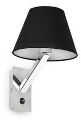 Moma 1 chrome and black fabric designer wall light. Faro.