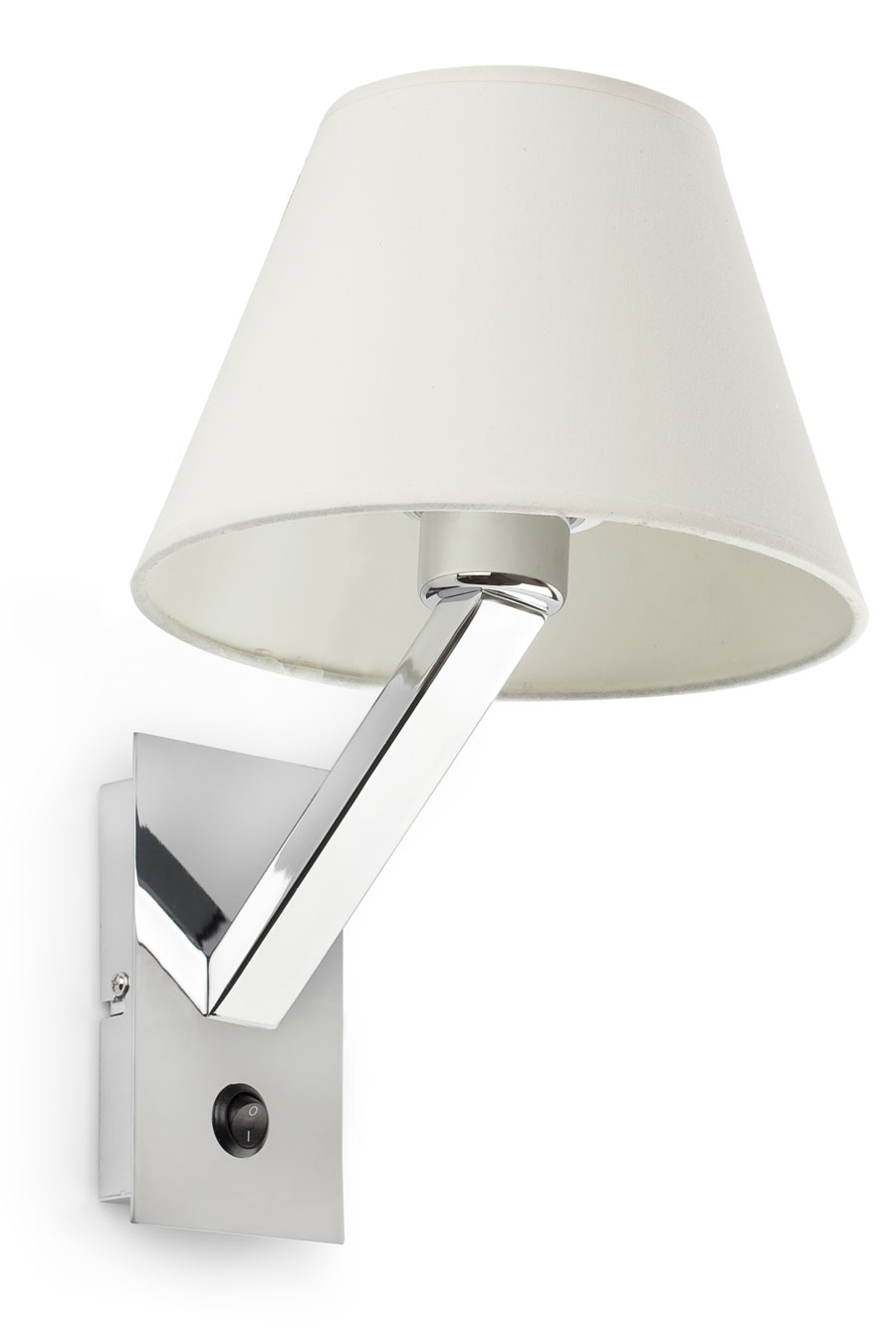 Moma 1 chrome and white fabric designer wall light. Faro.