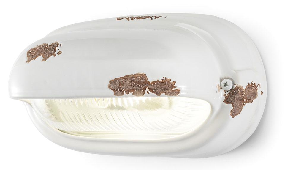 Applique en céramique écaillée blanche style vintage ferroluce