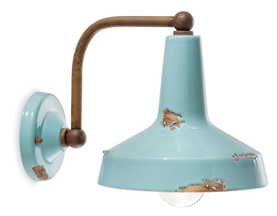 Applique industriel turquoise en céramique ferroluce luminaires