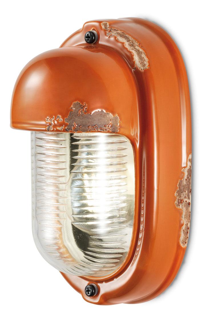 Applique industrielle en céramique orange. Ferroluce.