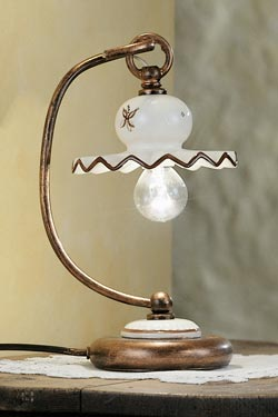 C402 Roma lampe de table en céramique décorée marron. Ferroluce.