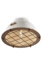 Round ceiling light with protective grid. Ferroluce.