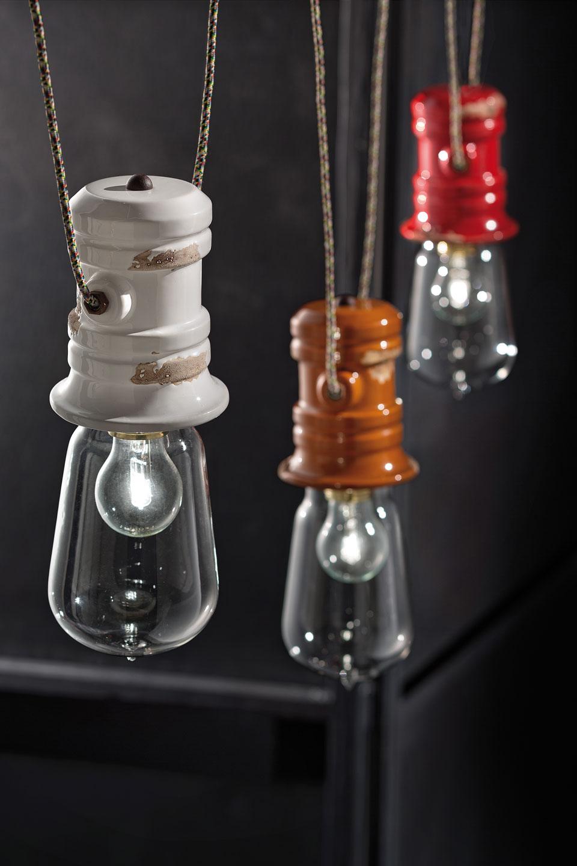 Triple suspension pour loft en c ramique blanche for Triple suspension luminaire