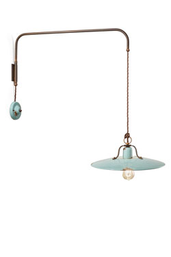 Grande applique turquoise style loft orientable . Ferroluce.