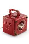 Petite lampe à poser cube en céramique Framboise. Ferroluce.