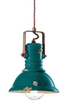 Petite suspension vert aqua en céramique écaillée. Ferroluce.