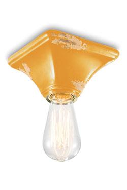 Plafonnier carré en céramique jaune. Ferroluce.