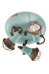 Plafonnier 3 lumières orientables bleu turquoise. Ferroluce.