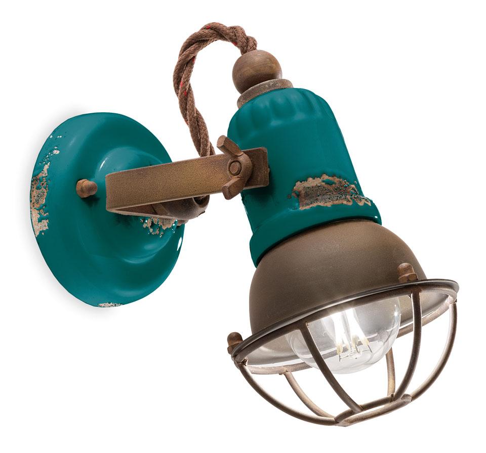 Spot Vert Aqua En Ceramique Ecaillee Ferroluce Luminaires En
