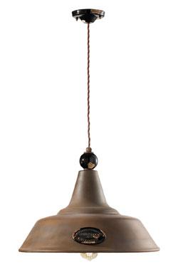 Suspension en métal rouillé style industriel 45cm. Ferroluce.