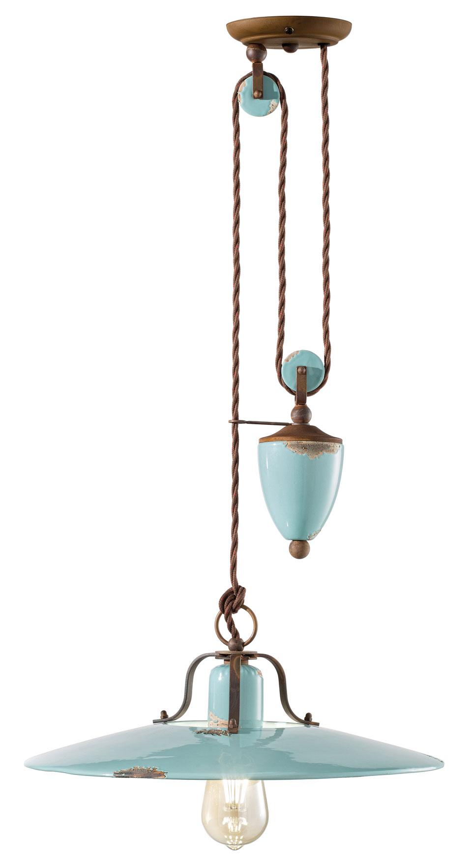 suspension monte et baisse r tro en c ramique aspect vieilli turquoise ferroluce luminaires. Black Bedroom Furniture Sets. Home Design Ideas