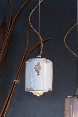 Suspension Vintage C984 blanche. Ferroluce.