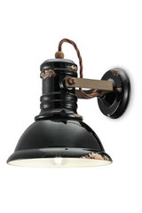 Adjustable black ceramic wall light Industrial. Ferroluce.