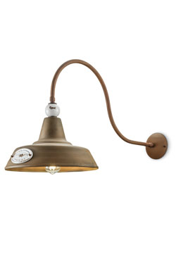 Grunge rusted metal industrial form wall light. Ferroluce.