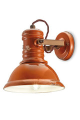 Industrial orange ceramic spotlight. Ferroluce.