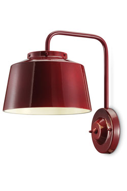 Red 50's style wall light. Ferroluce.