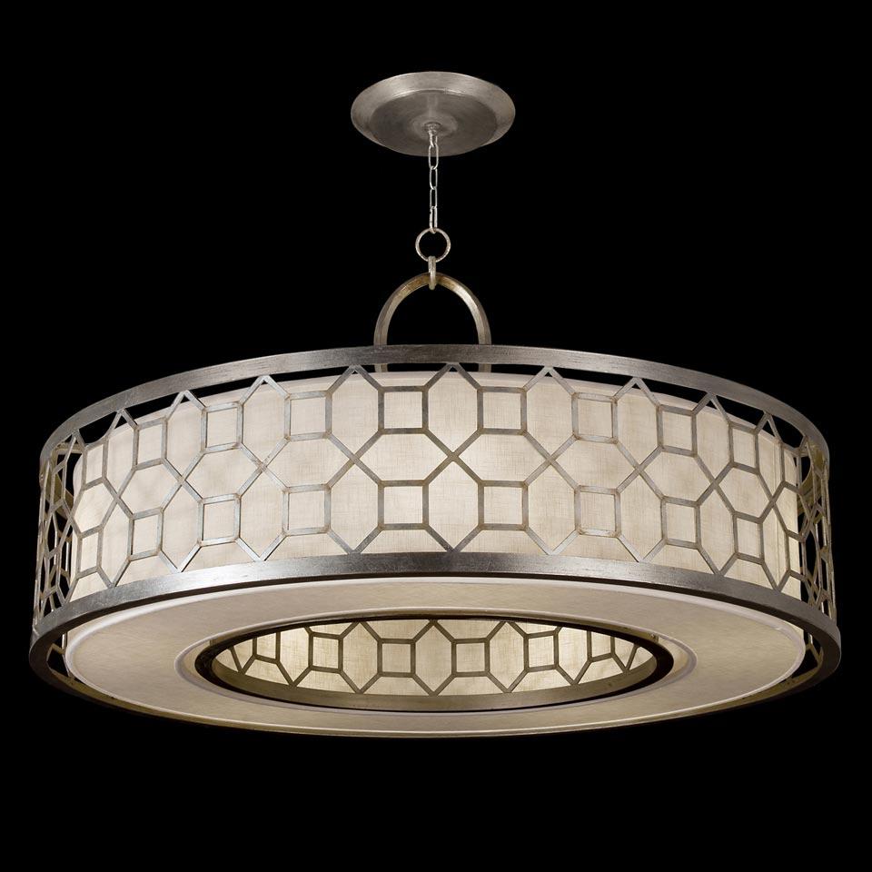 Allegretto lustre rond argent et lin naturel. Fine Art Lamps.
