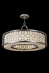 Allegretto lustre rond argent et lin naturel. Fine Art Lamps.