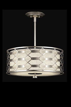 Allegretto suspension cylindre sur tige argent et lin naturel. Fine Art Lamps.