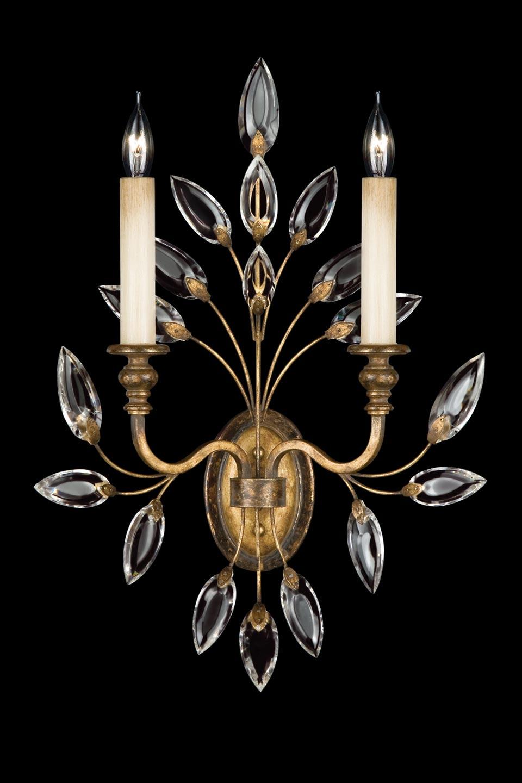 Applique de cristal en bouquet vieil or - Collection Crystal Laurel. Fine Art Lamps.