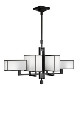 Black + White Story grand lustre métal noir et satin blanc. Fine Art Lamps.