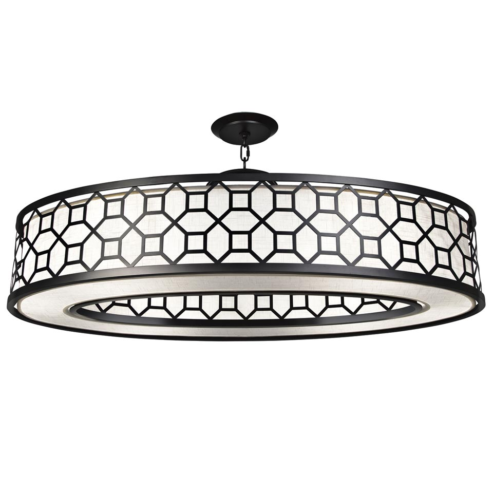 Black white story grand lustre ovale m tal noir et satin for Lustre en metal noir
