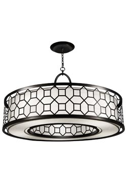Black + White Story grand lustre rond métal noir et satin blanc. Fine Art Lamps.