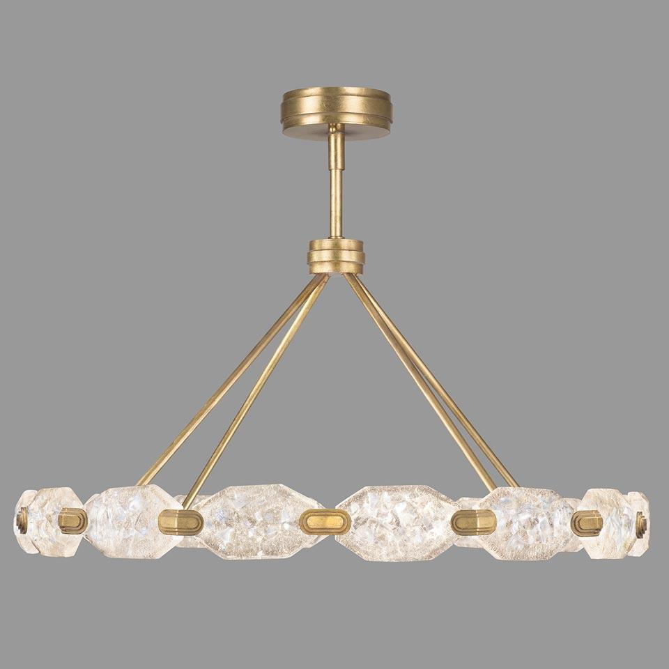 Grand lustre 16 pièces doré et cristal, éclairage LED. Fine Art Lamps.
